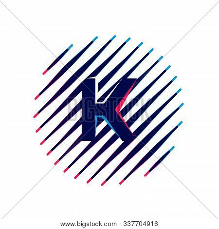 K Letter Logo On Sloping Fast Speed Lines Inside A Circle. Vector Elements For Sportswear, T-shirt,