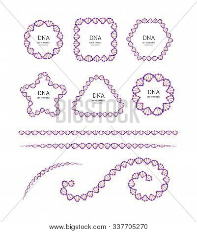 Dna Structure. Deoxyribonucleic Acid. Vector Set Of Frames Chemistry Illustration On White Backgroun