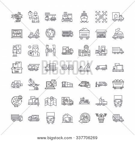 Logistics Linear Icons, Signs, Symbols Vector Line Illustration Set