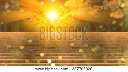 Stairs lead into sunset. 3D rendering