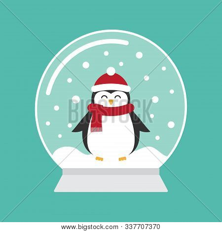Vector Flat Cartoon Snowball With Penguin Isolated On Mint Background