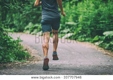 Runner man athlete jogging in city run on park path running view from back summer outdoor green forest.