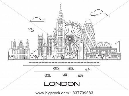 Vector Line Art Illustration Of Landmarks Of London, England. London City Skyline Vector Illustratio