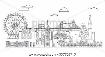 Panoramic Vector Line Art Illustration Of Landmarks Of London, England. London City Skyline Vector M