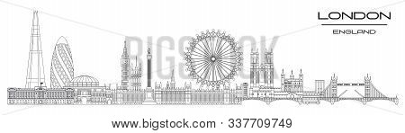 Vector Panoramic Line Art Illustration Of Landmarks Of London, England. London City Skyline Vector I
