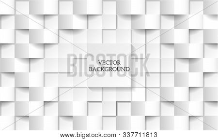 Abstract Painting. Embossed Paper Square White Background, Light And Shadow. Vector Illustration