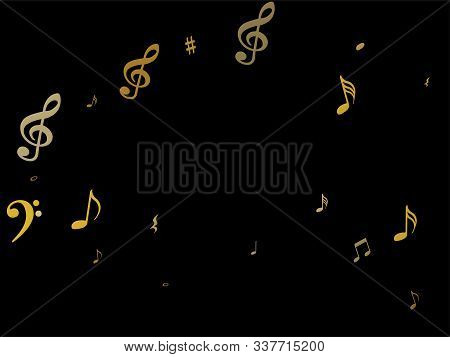 Gold Flying Musical Notes Isolated On Black Backdrop. Stylish Musical Notation Symphony Signs, Notes