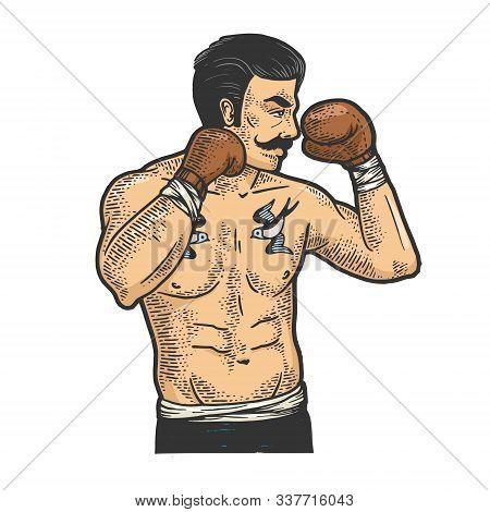 Vintage Boxer Fighter With Mustache Sketch Engraving Vector Illustration. T-shirt Apparel Print Desi