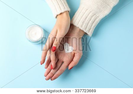 Woman Hands, Moisturizing Cream For Clean And Soft Skin In Winter Time, Jar Of Cream, Sweater, Heart