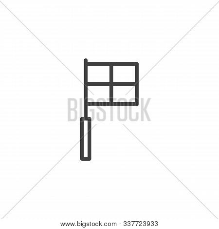 Football Foul Flag Line Icon. Linear Style Sign For Mobile Concept And Web Design. Soccer Referee, L