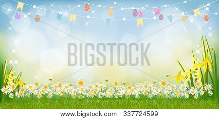 Vector Happy Easter Holiday Greeting Card With Nature Background With Green Grass, Flowers And Cute