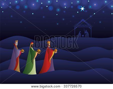 Happy Epiphany Day Design, Religion Christianity God Faith Spirituality Belief And Pray Theme Vector