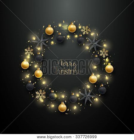 Christmas Wreath With Realistic Golden Baubles, Black Baubles, Stars And Snowflakes. Merry Christmas