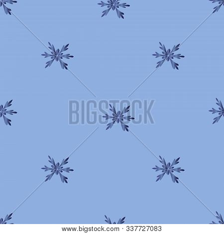 Snowflakes. Seamless vector pattern. An endlessly repeating ornament. Dark blue metallic crystals on an isolated blue background. Christmas decorative element. Idea for packaging, covers, textiles, web design. Fragile crystals of bizarre shape. Festive pr