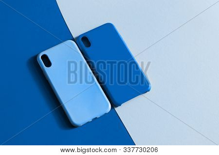 Silicone Smartphone Cases In Two Shades Of Blue. Color Of The Year 2020 Classic Blue. Protective Sil