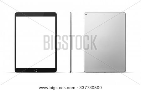 Tablet with front, back and side on white background, including clipping path