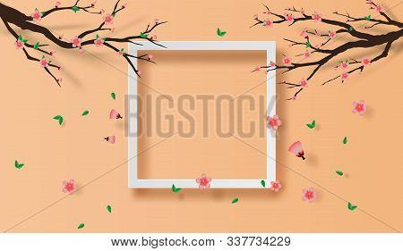 Illustration Of Paper Art And Craft Frame Spring Season Cherry Blossom Concept,springtime With Sakur