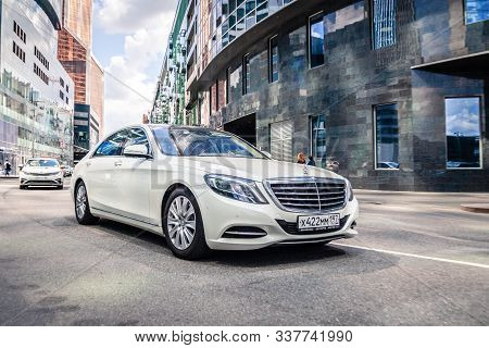 Russia Moscow 2019-06-17 White New Business Mercedes Benz S Class S600 Moving On The Street, Front V