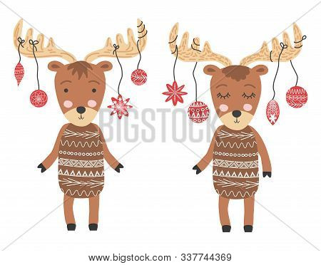 A Pair Of Scandinavian Moose In Christmas Attire, With Balls On The Horns, Childrens Print, Poster,