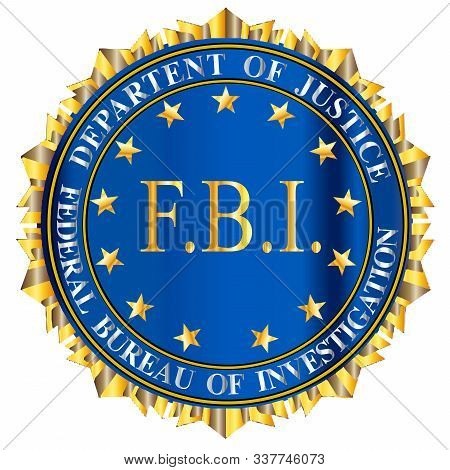 Spoof seal of the Federal Bureau of Information over a white background with large FBI text central poster