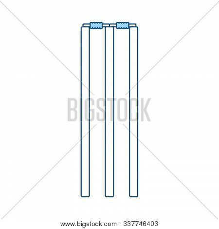 Cricket Wicket Icon. Thin Line With Blue Fill Design. Vector Illustration.
