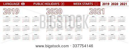 2019, 2020, 2021 Year Vector Calendar In Croatian Language, Week Starts On Sunday. Vector Calendar.