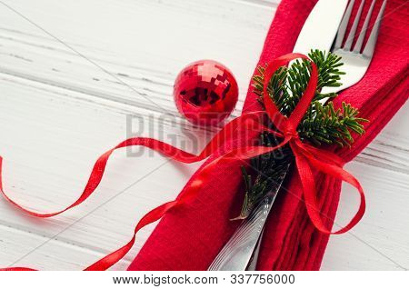 Table Setting For Celebration Christmas And New Year Holidays On White Wooden Table. Festive Place S