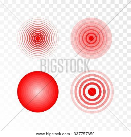 Pain Red Circle Or Ache Localization Icon. Body Painful Spot Marks. Muscle Pain, Painful Headaches O