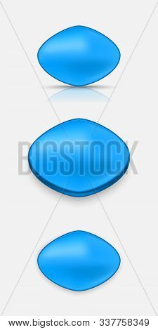 Active Blue Pill For Erection. Vector Illustration With Shadow And Reflection.