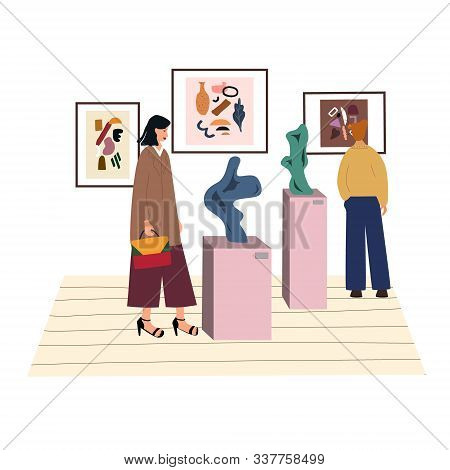 Woman Visiting Contemporary Art Gallery. Young Girl Surrounded By Creative Abstract Paintings, Expos