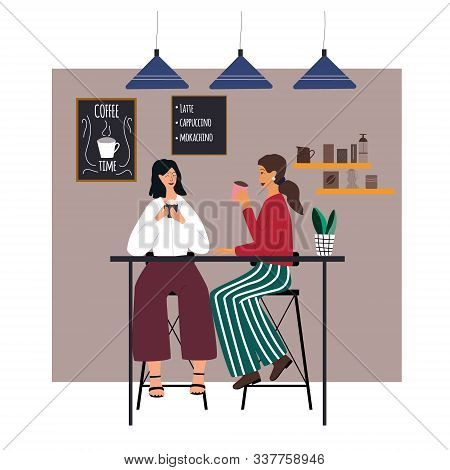 Two Girlfriends Sitting And Drinking Coffee At Caf. Women Talking And  Relaxing  In Everyday Routine