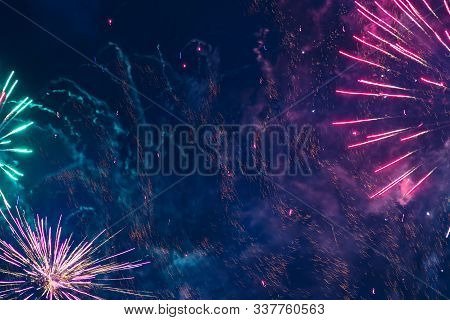 Inexpensive Fireworks, Over The City, Red Green Abd Green. Motion Blur. Light Flares. For Any Purpos