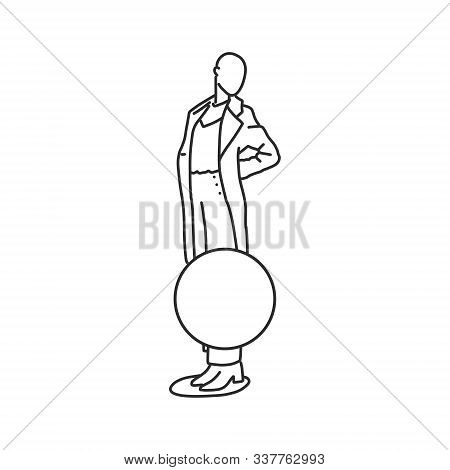 Shop Window With Mannequin In Autumn Women Clothes. Vector Illustration On White Background. Hairles