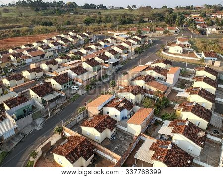 Pompeia, Sao Paulo, Brazil, August 13, 2019. Aerial View Of Construction Site Of Standardized Houses
