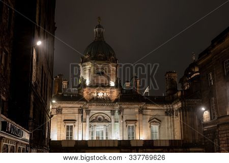 Edinburgh, Scotland - July 29, 2019: The Top Of The Museum On The Mound In Edinburgh Which Displays