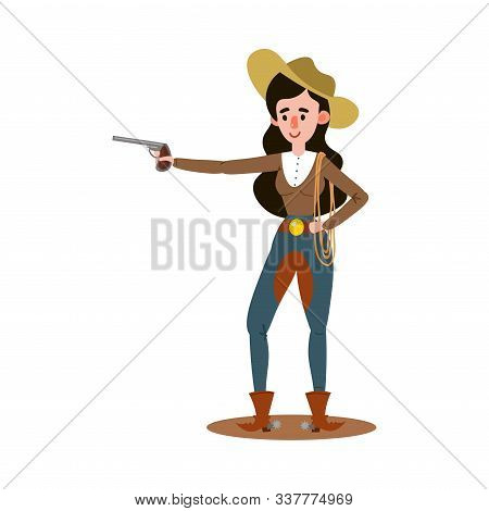 American Cowgirl Standing And Holding Up One Pistol To The Side. Vector Illustration In Flat Cartoon