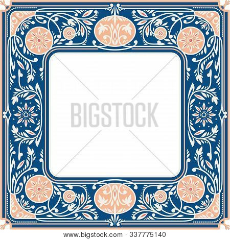 Classic Blue Floral Square Frame With White Blank Space In The Centre. Book Cover Template