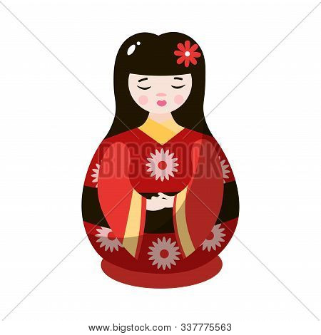 Japanese Geisha Nesting Doll In Colorful National Costume. Vector Illustration In Flat Cartoon Style