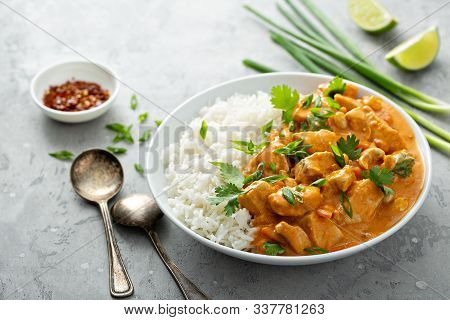 Chicken And Cashew Red Curry With Rice And Herbs, Thai Inspired Dish