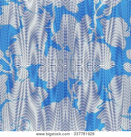 Colored Floral Seamless Pattern With Light Silhouettes Of Textyred Tropical Flowers Orchids On Blue