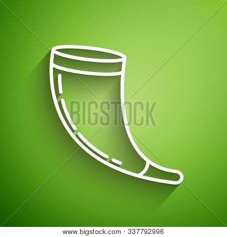 White Line Traditional Ram Horn, Shofar Icon Isolated On Green Background. Rosh Hashanah, Jewish New