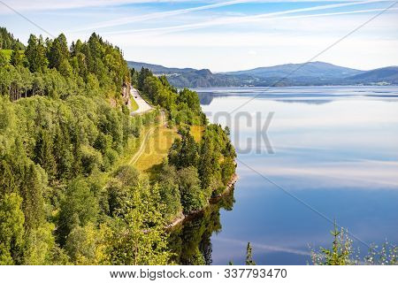 Snasa Lake Snasavatnet Sixth Largest Lake In Norway, Nord Trondelag County, Scenic Nature