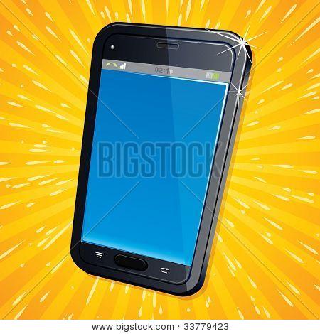 Abbildung der retro Stil Poster mit modernen Handy