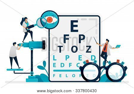 Doctor Checks Patient Eyes Health With Snellen Chart, Glasses For Eye Disease. Eye Clinic Or Optical