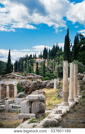 Scenic Landscape With Ancient Ruins Of The Archaeological Site In Delphi, Greece