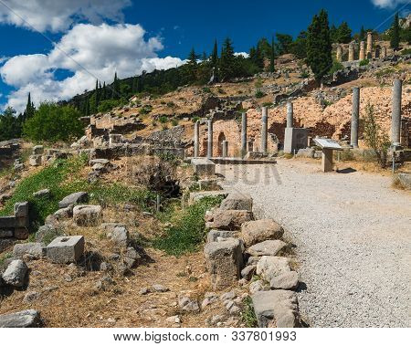 Scenic Landscape With Road To Ancient Ruins Of The Archaeological Site In Delphi, Greece. Entrance V