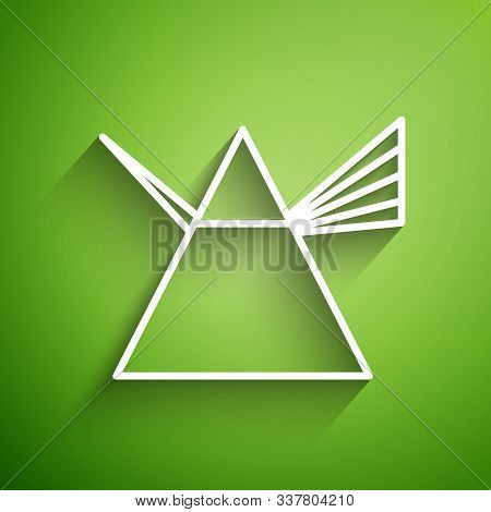 White Line Light Rays In Prism Icon Isolated On Green Background. Ray Rainbow Spectrum Dispersion Op