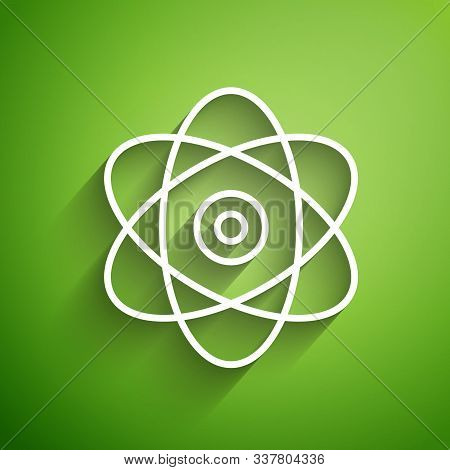 White Line Atom Icon Isolated On Green Background. Symbol Of Science, Education, Nuclear Physics, Sc