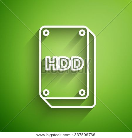 White Line Hard Disk Drive Hdd Icon Isolated On Green Background. Vector Illustration