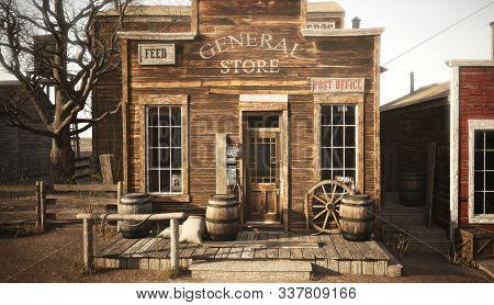 Western Town Rustic General Store. 3d Rendering